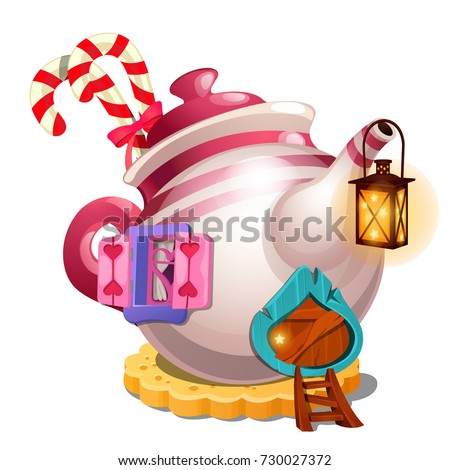 Fairy house in form of ceramic teapot isolated on white background. Vector close-up cartoon illustra stock photo © Lady-Luck