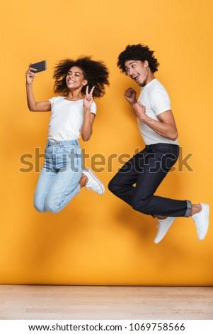 Stock fotó: Teljes · alakos · fotó · gyönyörű · afroamerikai · pár · színes
