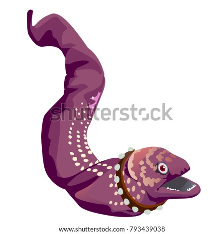 spotted moray eel with a collar with spikes isolated on a white background vector cartoon close up stock photo © lady-luck