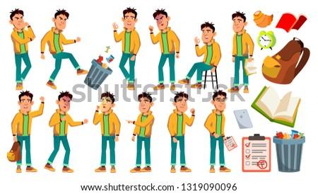 Asian slechte jongen schooljongen vector middelbare school Stockfoto © pikepicture