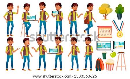 Arab, Muslim Boy Schoolboy Kid Poses Set Vector. High School Child. School Student. Expression, Happ Stock photo © pikepicture