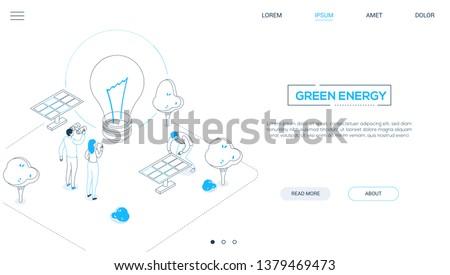 Megújuló energia modern színes izometrikus vektor háló Stock fotó © Decorwithme