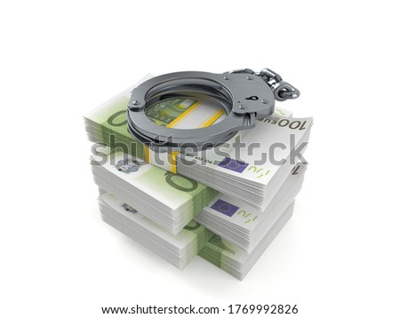 Handcuffs and money on white background. Isolated 3D illustratio Stock photo © ISerg