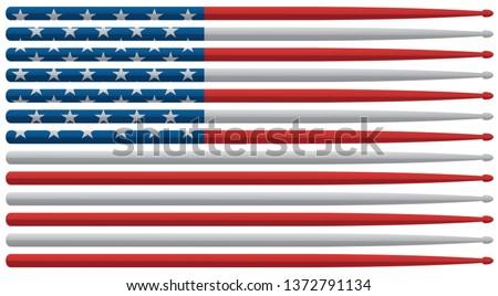 Amerykański perkusista drum banderą czerwony biały Zdjęcia stock © jeff_hobrath