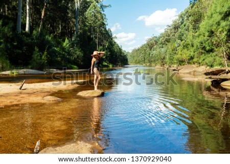 Enjoying the tranquil waters of the Grose River Blue Mountains, Foto stock © lovleah