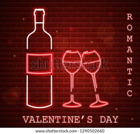 neon valentine day card with wine bottle and glasses red romant stock photo © frimufilms