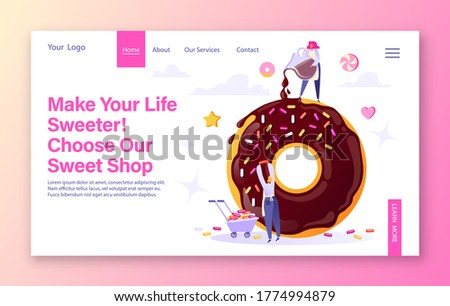 Chef Chocolate Donut Cartoon Character With Sprinkles Serving Donuts Circle Label Stock photo © hittoon
