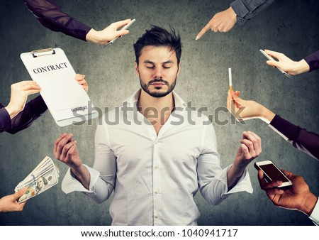 business man is meditating to relieve stress of busy corporate life  Stock photo © ichiosea