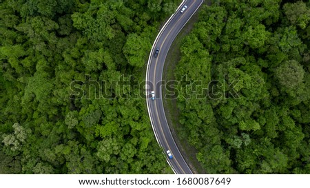 Stock photo: The road with a passing car through the foliage of the forest on a sunny day. Aerial view of the dro