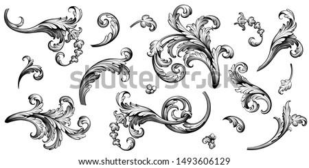 ヴィンテージ · バロック · パターン · ベクトル · フローラル · 飾り - ストックフォト © frimufilms