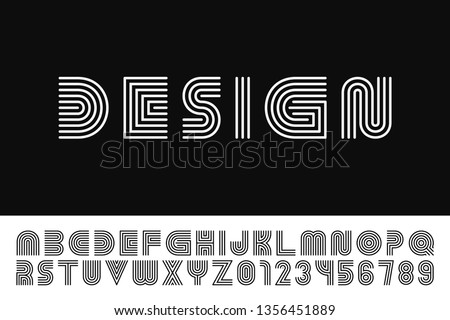 Modern stylized striped font - vector minimalistic design. Trendy english alphabet - simple latin le Stock photo © ExpressVectors
