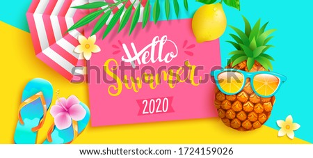 Vector Summer Time Illustration with Flower and Sunglasses on Ocean Blue Background. Tropical Plants Stock photo © articular