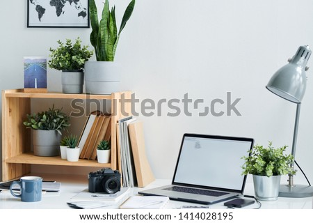 Group of office supplies on workplace of contemporary creative designer Stock photo © pressmaster