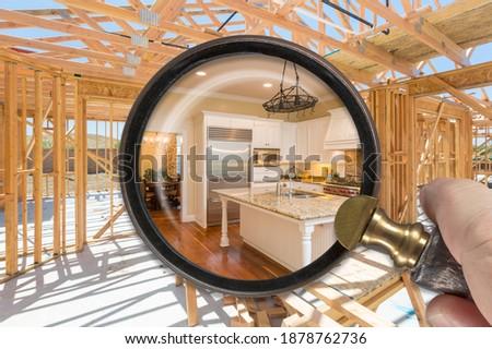 Hand vergrootglas afgewerkt keuken bouwen Stockfoto © feverpitch