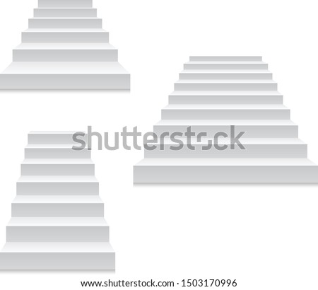 Staircase - white stairs template isolated on white, front view  Stock photo © Winner