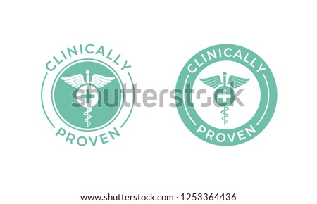 clinically tested stamp with caduceus   clinically proven medici stock photo © winner