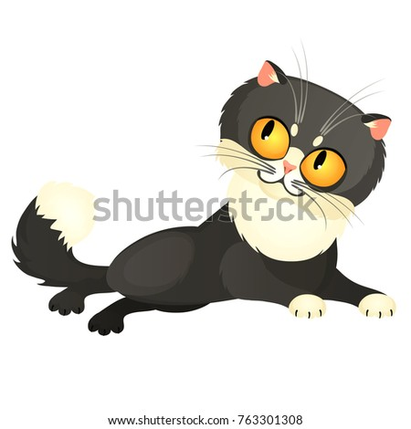 Tricky animated gray cat with yellow eyes isolated on a white background. Vector cartoon close-up il Stock photo © Lady-Luck