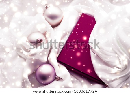 Christmas magic holiday background, festive baubles, maroon vint Stock photo © Anneleven