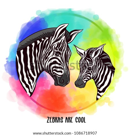 Cute watercolor zebra , isolated illustration good for baby clothes print, children greeting card Stock photo © bonnie_cocos