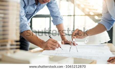 workplace of architect or office manager on background of shelves with documents stock photo © pressmaster