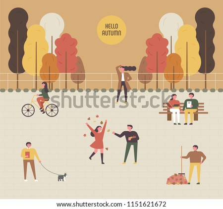 Woman on bicycle Vector flat style. Fall season lifestyle cyclin Stock photo © frimufilms