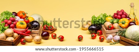 Banner with Mix of tomatoes background. Beautiful juicy organic red tomatoes Stock photo © Illia