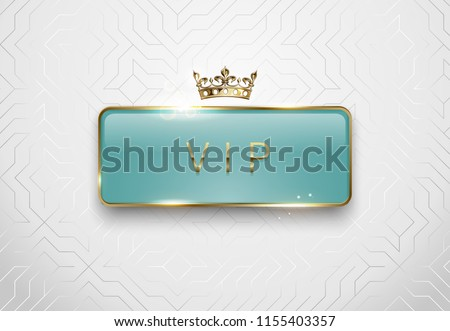 Premium green label with rectangle golden frame crown on gold floral background. Royal glossy vip Stock photo © Iaroslava