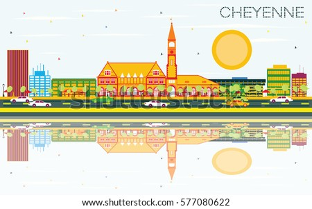 Outline Cheyenne (Wyoming) Skyline with Blue Buildings and copy  Stock photo © ShustrikS