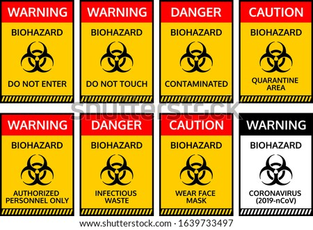 Warning sign with crossed out Coronavirus bacteria on the background of American flag. Stock photo © artjazz