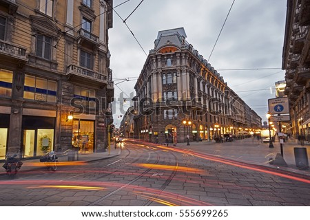 Modern buildings on the city center streets of Milan in Lombardy region in Northern Italy, contempor Stock photo © Anneleven
