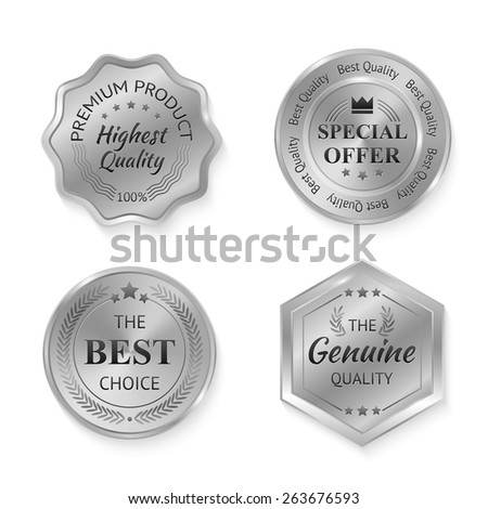 Establecer brillante dorado plata garantizar Foto stock © evgeny89