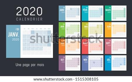 2020 year simple calendar on french language on dark background Stock photo © evgeny89