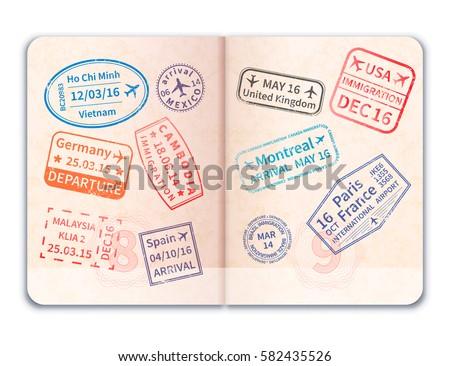 Open buitenlands paspoort kleurrijk immigratie postzegels Stockfoto © evgeny89