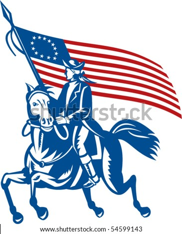 American Patriot Revolutionary General on Horseback  With Betsy Rose Flag Retro Black and White Stock photo © patrimonio