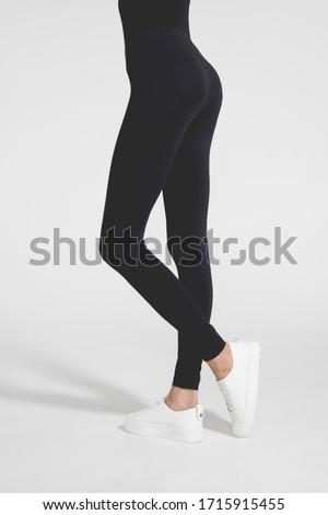 Belo esbelto mulher perfil elegante vestido preto Foto stock © vkstudio