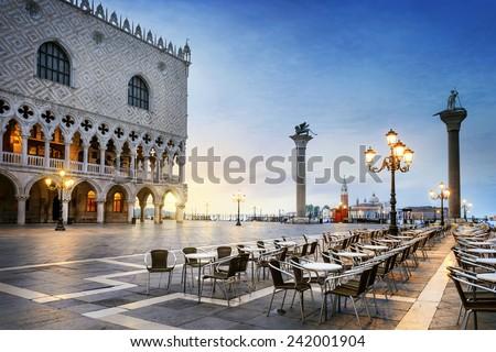 Gondolas and in lagoon of Venice by Saint Mark San Marco square Stock photo © dmitry_rukhlenko
