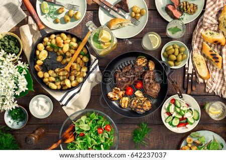 обеденный стол разнообразие вечеринка Открытый Сток-фото © Illia