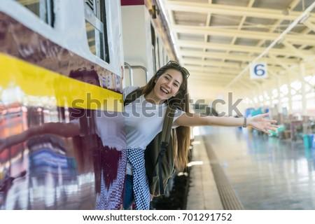 Feliz asiático viajante sorridente trem viajar Foto stock © Maridav
