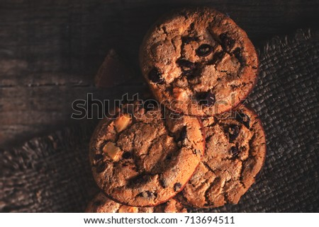 Fresh baked chocolate chip cookies with sugar powder on blue pla Stock photo © marylooo