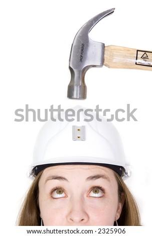 Kız kask çekiç beyaz kadın çalışmak Stok fotoğraf © dacasdo