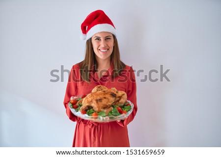 Сток-фото: портрет · молодые · возбужденный · красивая · женщина · Дед · Мороз