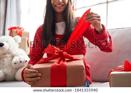 pretty santa girl closeup portrait of a teen girl wearing chris stock photo © andreykr