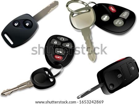 Quatre clés de voiture télécommande isolé blanche fond Photo stock © leonido