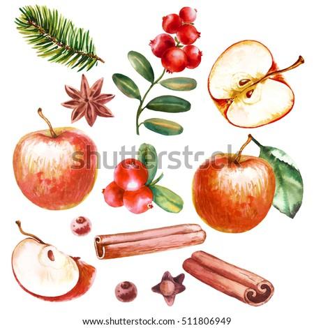 Navidad decoración manzana roja canela anís árbol Foto stock © juniart