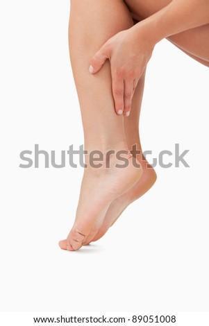 kobiecy · strony · dotknąć · nogi · biały - zdjęcia stock © wavebreak_media