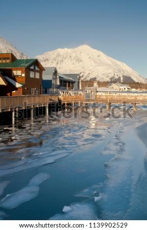 Kış diriliş Alaska marina dağlar Stok fotoğraf © cboswell