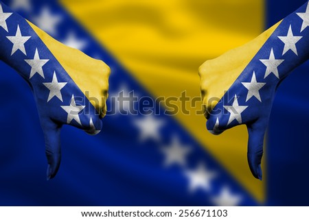 bosnia herzegovina national flag thumbs down gesture for failure Stock photo © vepar5