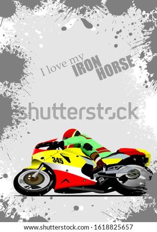 grunge gray background with motorcycle image iron horse vector stock photo © leonido