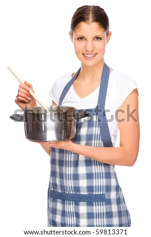 full isolated studio picture from a young housewife in the kitchen stock photo © pxhidalgo