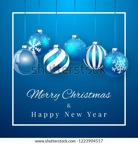 merry christmas and christmas balls with snowflakes over silver  Stock photo © marinini